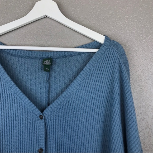 Wild Fable 2X Blue V-neck Button Down Waffle Knit Cardigan Sweater Oversized